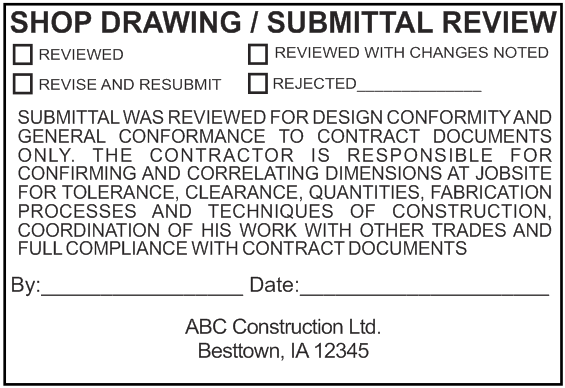 Shop Drawing Submittal Review Stamp Option 2