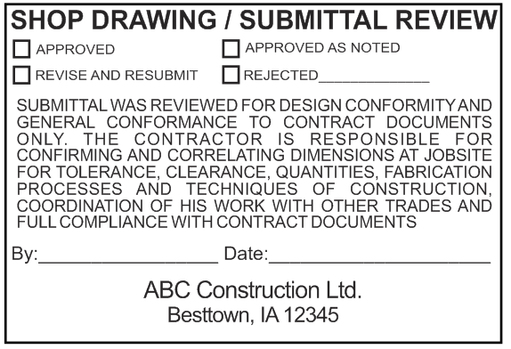 Shop Drawing Submittal Review Stamp Option 4