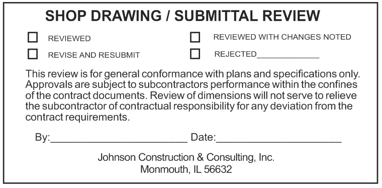 Shop Drawing Submittal Review Stamp